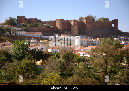Panoramic view of the Castelo de Silves Castle Algarve Iberia Portugal Europe - Stock Photo