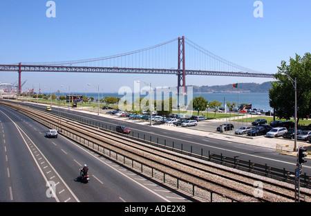 Vasco da Gama Bridge over the Tagus river from Belem quarter to south bank Lisbon Costa Lisboa Portugal Iberia Europe - Stock Photo