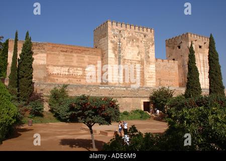 View of Alhambra Palace & Alcazaba fortress Granada Andalusia Andalucía España Spain Iberia Europe - Stock Photo