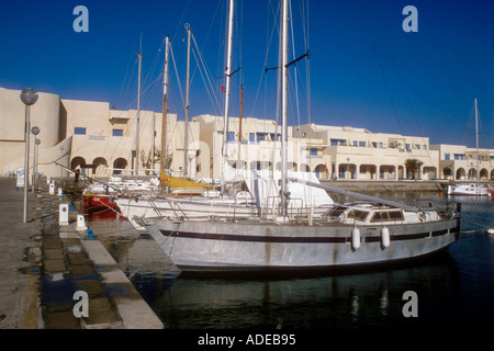 Yachts at the Port El Kantaoui marina in Tunisia North Africa - Stock Photo
