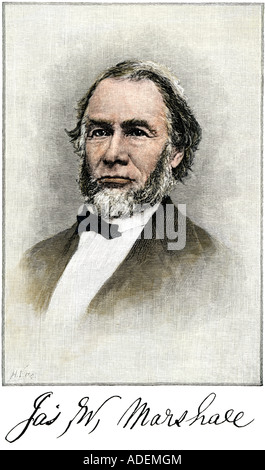 James Wilson Marshall discoverer of gold in California 1848 with his signature. Hand-colored woodcut - Stock Photo