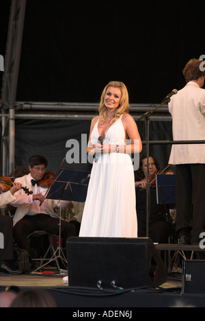 Welsh singer Katherine Jenkins performs with the Royal Philharmonic Concert Orchestra at the last night of the Audley - Stock Photo