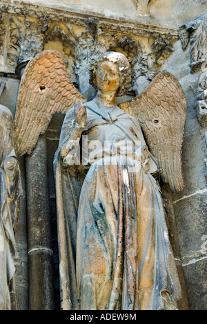 Reims France Religious Monuments 'Notre Dame Cathedral' Detail 'Smiling Angel' Statue on Doorway Front Day - Stock Photo