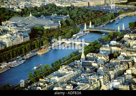 An aerial view of Paris France and the River Seine from the Eiffel Tower - Stock Photo