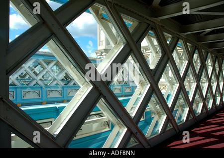 England London Tower Bridge walkways architectural detail - Stock Photo
