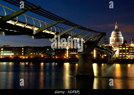 England London Millenium Bridge and St Paul s Cathedral - Stock Photo