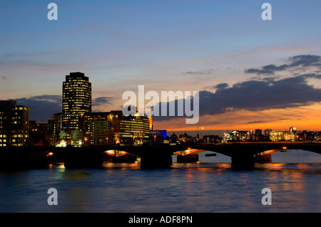 England London River Thames from Millenium Bridge looking West to Southbank - Stock Photo