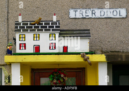 Model house on top of porch in the village of Sarn on the Lleyn Peninsula Gwynedd North Wales UK