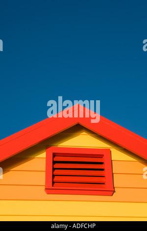 Iconic bathing boxes on beach Brighton Victoria Australia - Stock Photo
