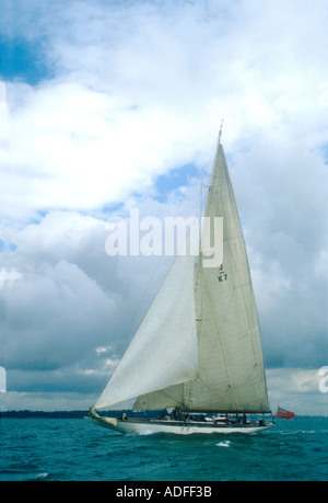 The 1933 J class yacht Velsheda in the Solent Hampshire England UK - Stock Photo