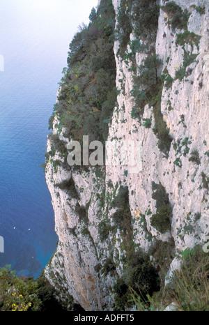 Salto di Tiberio cliff Capri island Campania Italy - Stock Photo