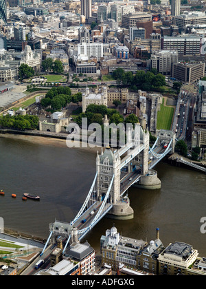 Aerial view of the Tower of London and Tower Bridge. - Stock Photo