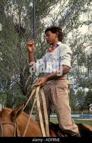 Argentine people, young man, male, gaucho, estancia, San Antonio de Areco, Buenos Aires Province, Argentina - Stock Photo