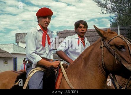 Argentine people, young men, male, gauchos, estancia, San Antonio de Areco, Buenos Aires Province, Argentina - Stock Photo