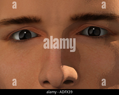 extreme close up ecu of man s face 3d illustration - Stock Photo