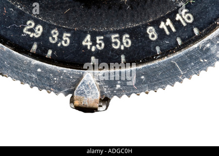 Aperture adjustment at an old Camera with bellow - Stock Photo