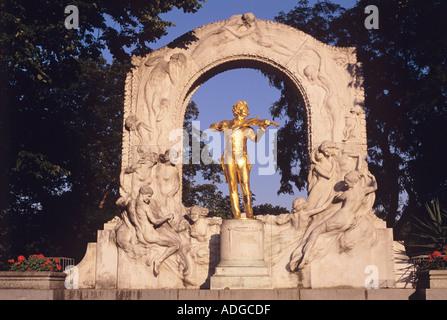 Strauss Monument Stadtpark Vienna Austria - Stock Photo