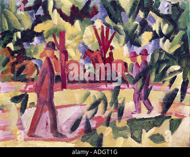 'fine arts, Macke, August, (1887 - 1914), painting, 'Reiter und Spaziergänger in einer Allee', ('riders and promeneders - Stock Photo