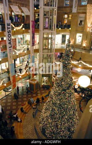 Princes Square Shopping Centre, Glasgow.Scotland, Christmas Eve,  December - Stock Photo