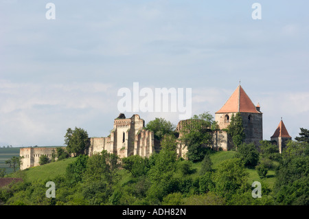 Castle above the village of Slimnic, near Sibiu, Transylvania, Romania - Stock Photo