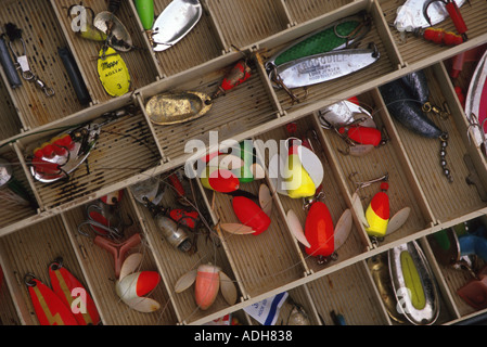 close up of salmon fishing tackle box with plugs stock photo, Reel Combo