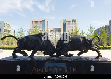Bull statue designed by Li Keren in 1986 Tsinghua Scientific Park in Wudaokou Beijing China - Stock Photo