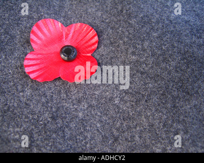 Remembrance day poppy on grey serge material - Stock Photo