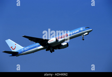 Thomson Boeing 757 aircraft taking off from Birmingham International Airport, West Midlands, England, UK - Stock Photo