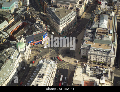 Aerial view of Piccadilly Circus with the statue of Eros in London's West End - Stock Photo