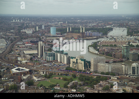 Aerial view of the MI6 Headquarters at Vauxhall Cross in London. Also featured is Battersea Power Station, Nine - Stock Photo