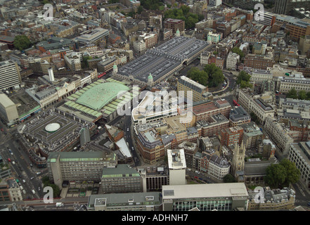 Aerial view of St Bartholomew's Hospital in London which is sometimes called Bart's Hospital. Also featured is Smithfield - Stock Photo