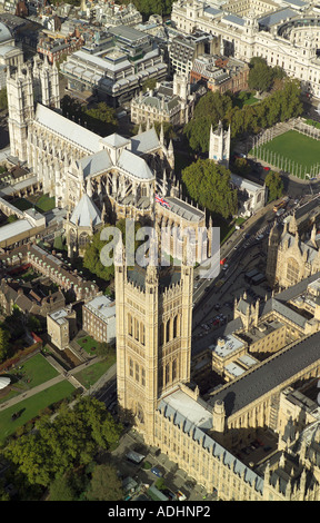 Aerial view of the Victoria Tower which is at the southern end of the Houses of Parliament. Also featured is Westminster - Stock Photo