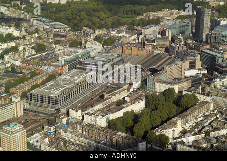 Aerial view of Victoria Station with Victoria Place Shopping Centre in the foreground and Buckingham Palace in the - Stock Photo