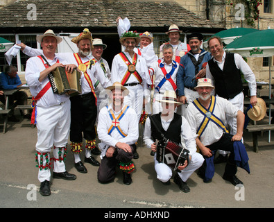 Morris Dancers at the Butchers Arms Pub in Sheepscombe the Cotswolds England - Stock Photo