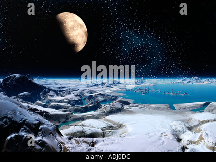 Moon rising over ice planet at night 3d computer generated sci fi world - Stock Photo