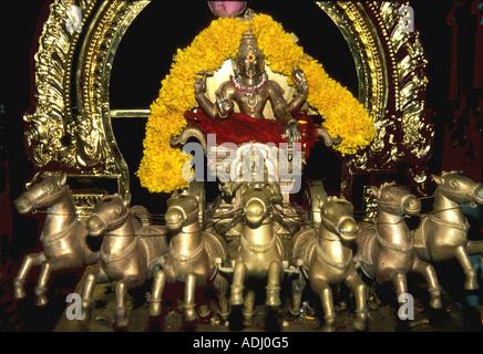 Krishna as the charioteer with Arjuna, Hindu mythology - Stock Photo
