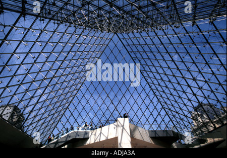 Museum Louvre Pyramid in front of the Palais Royal Paris France - Stock Photo