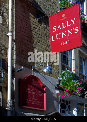 Hanging sign on Sally Lunns bakery, the oldest house in Bath, Avon, UK - Stock Photo