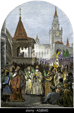 Religious procession in Moscow during the reign of Tsar Ivan IV the Terrible 1500s. Hand-colored woodcut - Stock Photo