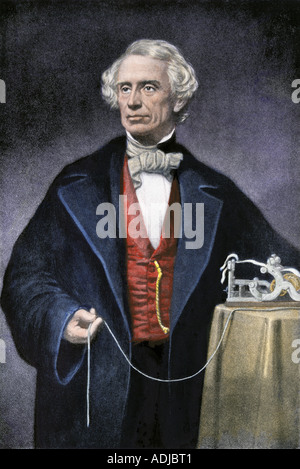 Samuel Morse with his invention the telegraph. Hand-colored halftone of an illustration - Stock Photo