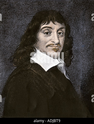 Rene Descartes. Hand-colored engraving - Stock Photo