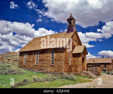 Presbyterian Church in ghost town of Bodie California - Stock Photo