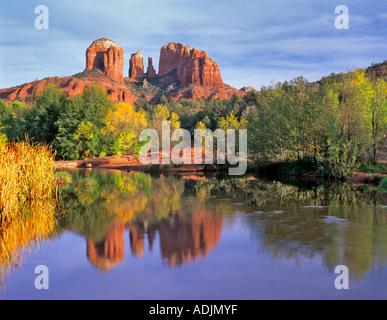 Cathedral Rock reflected in Oak Creek Arizona - Stock Photo