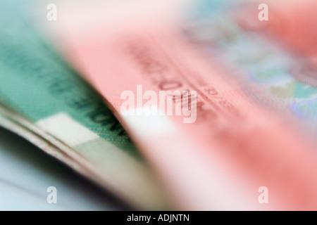 Canadian twenty & fifty dollar bills currency - Stock Photo