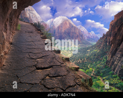 Manipulated image of trail in Zion National Park Utah - Stock Photo