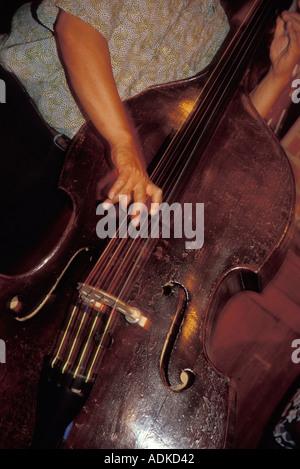 Man Playing Upright Bass - Stock Photo