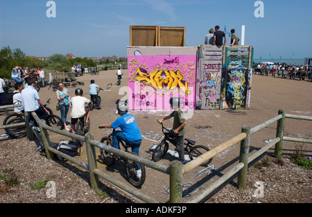 Skate park on the beach at Eastbourne, East Sussex, England during the annual Eastbourne Extreme weekend. - Stock Photo