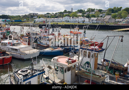 Fishing boats in the port harbour of Greencastle on the Inishowen shore of Lough Foyle in north Donegal, Ireland. - Stock Photo