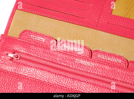 Detail of a Pink Travel document wallet for passport tickets. Picture by Paddy McGuinness paddymcguinness - Stock Photo