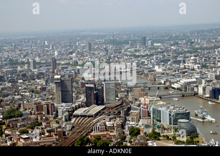 Oblique high level aerial view north west of London Bridge Station Guy s Hospital and River Thames London SE1 EC3 - Stock Photo